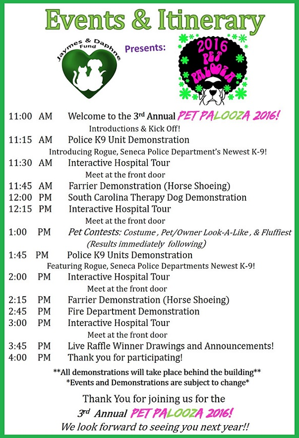 Pet Palooza 2016 Itinerary - Saturday, September 24