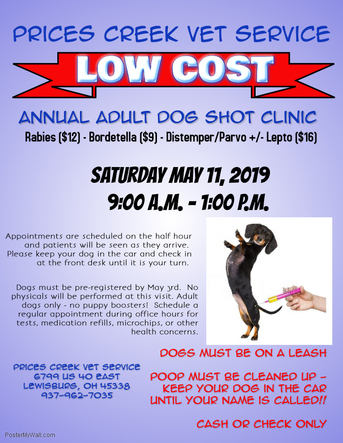 Low Cost Adult Dog Shot Clinic